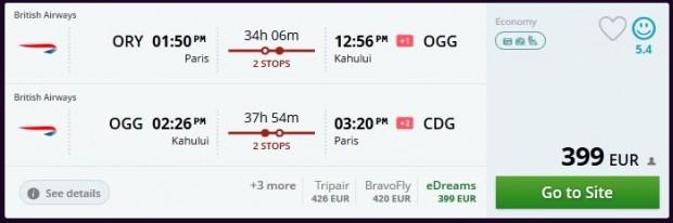 Pariz >> Kahului >> Pariz