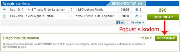 Trst >> Alghero >> Trst, na rumbo.pt stranicama
