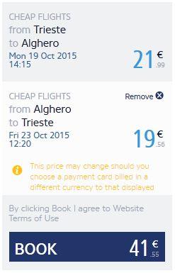 Trst >> Alghero >> Trst, na Ryanair stranicama