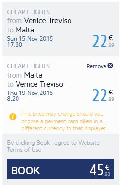 Venecija >> Malta >> Venecija, na Ryanair stranicama
