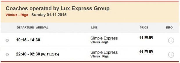 Vilnius >> Riga, autobus