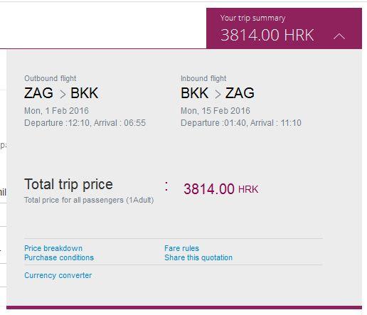 Zagreb >> Bangkok >> Zagreb, na Qatar Airways stranicama