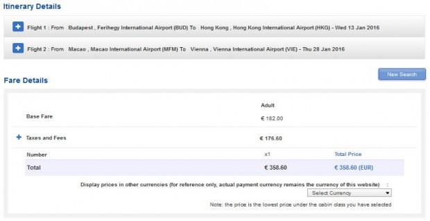 Budimpešta >> Hong Kong -- Makao >> Beč, na Air China stranicama