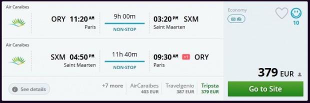 Pariz >> St. Maarten >> Pariz, na momondo stranicama