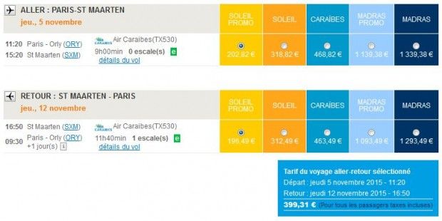 Pariz >> St. Maarten >> Pariz, na Air Caraïbes stranicama