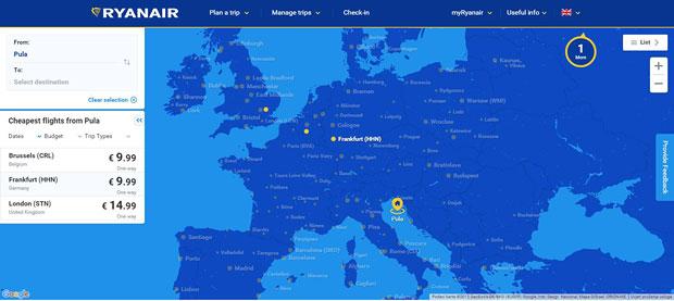 Ryanair - nova mapa