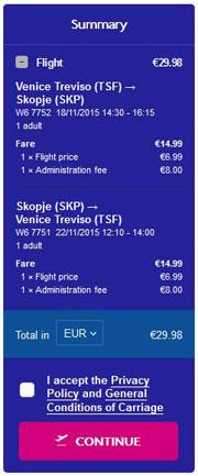 Venecija (Treviso) >> Skopje >> Venecija (Treviso), na Wizzair stranicama
