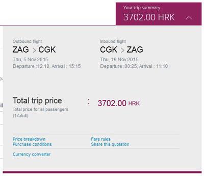 Zagreb >> Jakarta >> Zagreb, na Qatar Airways stranicama