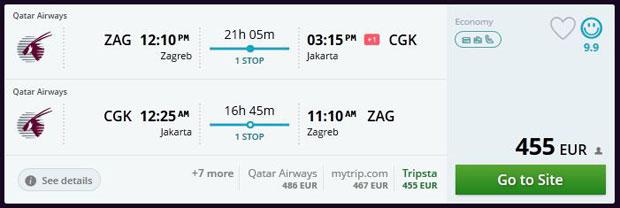 Zagreb >> Jakarta >> Zagreb, na Momondo stranicama