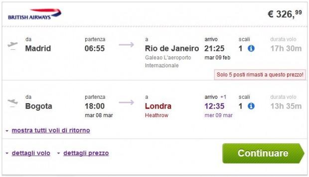 Madrid >> Rio de Janeiro -- Bogota >> London