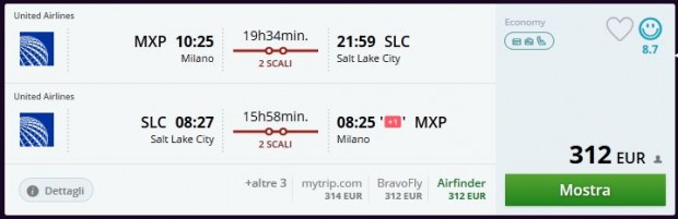 Milano >> Salt Lake City >> Milano