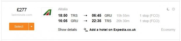 Trst >> Sao Paulo >> Trst