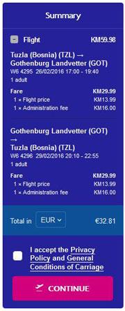 Tuzla >> Göteborg >> Tuzla, na Wizzair stranicama
