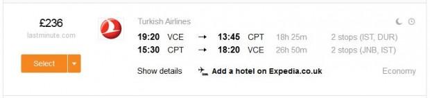 Venecija >> Cape Town >> Venecija