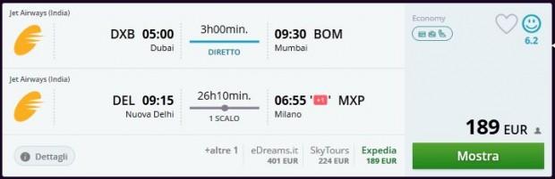 Dubai >> Mumbai -- Delhi >> Milano