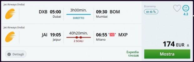Dubai >> Mumbai -- Jaipur >> Milano