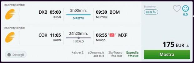 Dubai >> Mumbai -- Kochi >> Milano