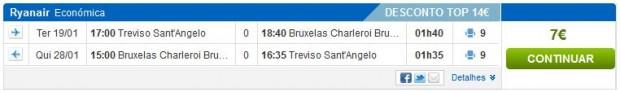 Venecija (Treviso) >> Brisel (Charleroi) >> Venecija (Treviso)