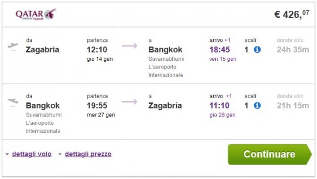 Zagreb >> Bangkok >> Zagreb, na budgetair.it stranicama