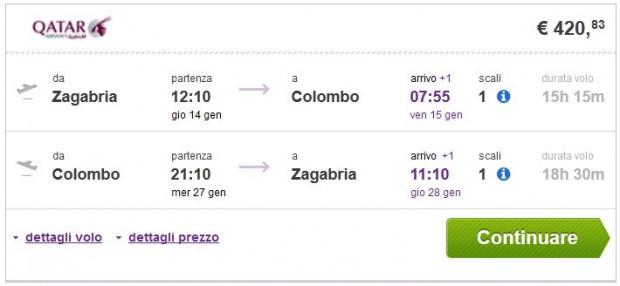 Zagreb >> Colombo >> Zagreb, na budgetair.it stranicama