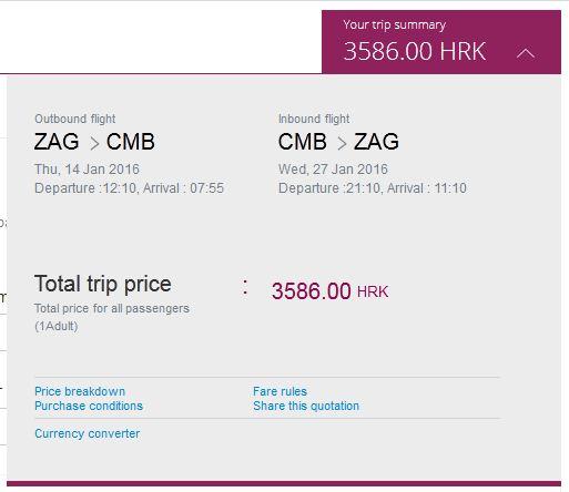 Zagreb >> Colombo >> Zagreb, na Qatar Airways stranicama