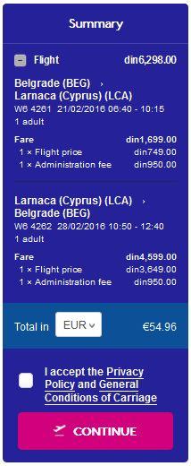 Beograd >> Larnaca >> Beograd, na Wizzair stranicama