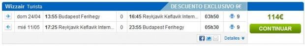 Budimpešta >> Reykjavik >> Budimpešta, na rumbo.es stranicama