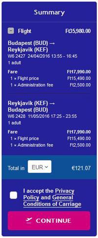 Budimpešta >> Reykjavik >> Budimpešta, na Wizzair stranicama