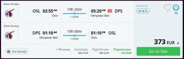 Oslo >> Denpasar (Bali) >> Oslo