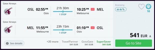 Oslo >> Melbourne >> Oslo