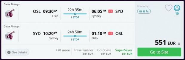 Oslo >> Sydney >> Oslo