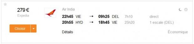 Beč >> Delhi -- Hyderabad >> Beč