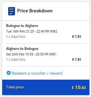 Bolonja >> Alghero >> Bolonja, na Ryanair stranicama