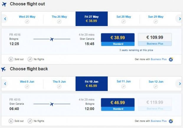 Bolonja >> Gran Canaria >> Bolonja, na Ryanair stranicama