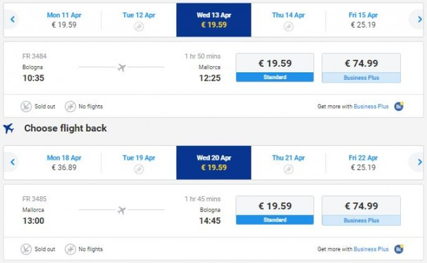 Bolonja >> Palma de Mallorca >> Bolonja, na Ryanair stranicama