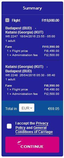 Budimpešta >> Kutaisi >> Budimpešta, na Wizzair stranicama