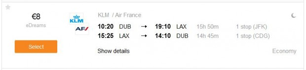 Dublin >> Los Angeles >> Dublin, za 8€!!!
