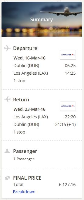 Dublin >> Los Angeles >> Dublin, na eDreams stranicama