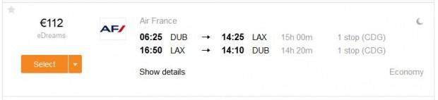Dublin >> Los Angeles >> Dublin, na kayak.ie stranicama