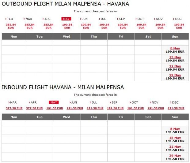 Milano >> Havana (Kuba) >> Milano, pretraga je lakša na Meridiana stranicama