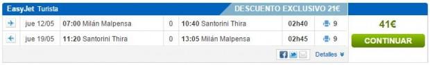 Milano >> Thira (Santorini) >> Milano, na rumbo.es stranicama