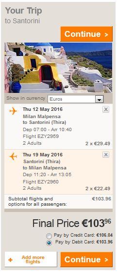 Milano >> Thira (Santorini) >> Milano, na Easyjet stranicama