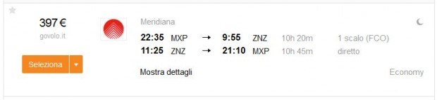 Milano >> Zanzibar (Tanzanija) >> Milano