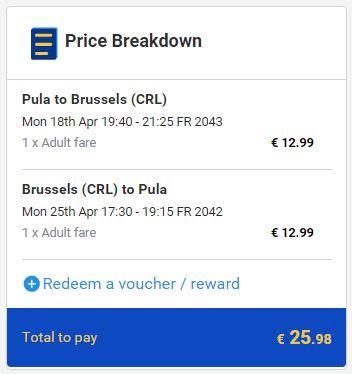 Pula >> Brisel >> Pula, na Ryanair stranicama