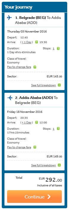 Beograd >> Adis Abeba >> Beograd