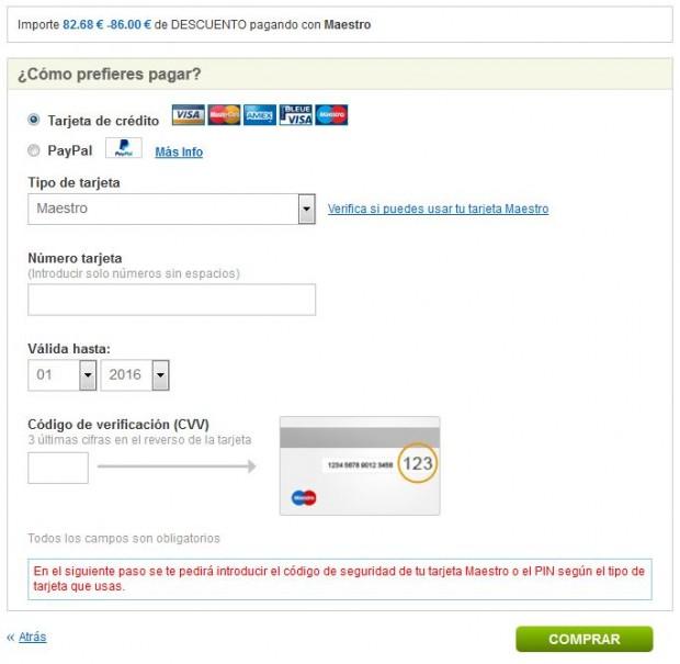 Bolonja >> Ibiza >> Bolonja, na rumbo.es stranicama, stranica s plaćanjem (primjer za 2 osobe)
