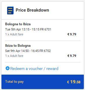 Bolonja >> Ibiza >> Bolonja, na Ryanair stranicama