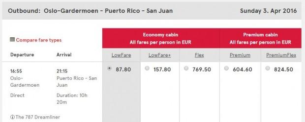 Oslo >> San Juan (Portoriko)