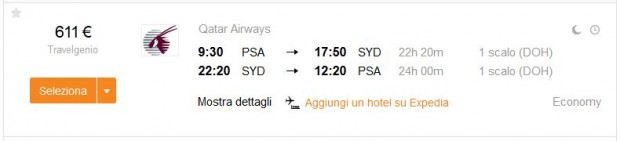 Pisa >> Sydney >> Pisa, na kayak.it stranicama
