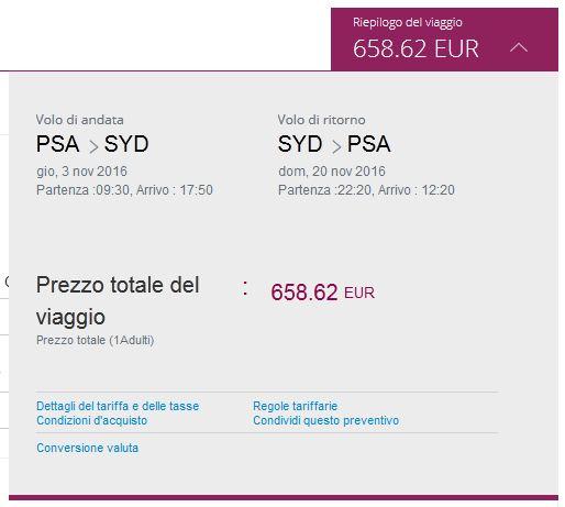 Pisa >> Sydney >> Pisa, na Qatar Airways stranicama